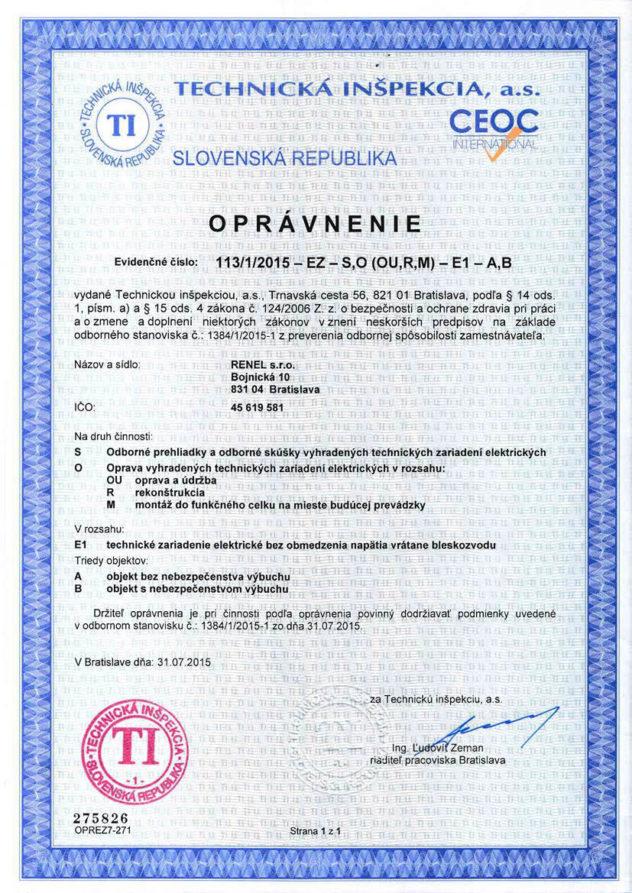 Oprávnenia - Technická inšpekcia - Renel.sk