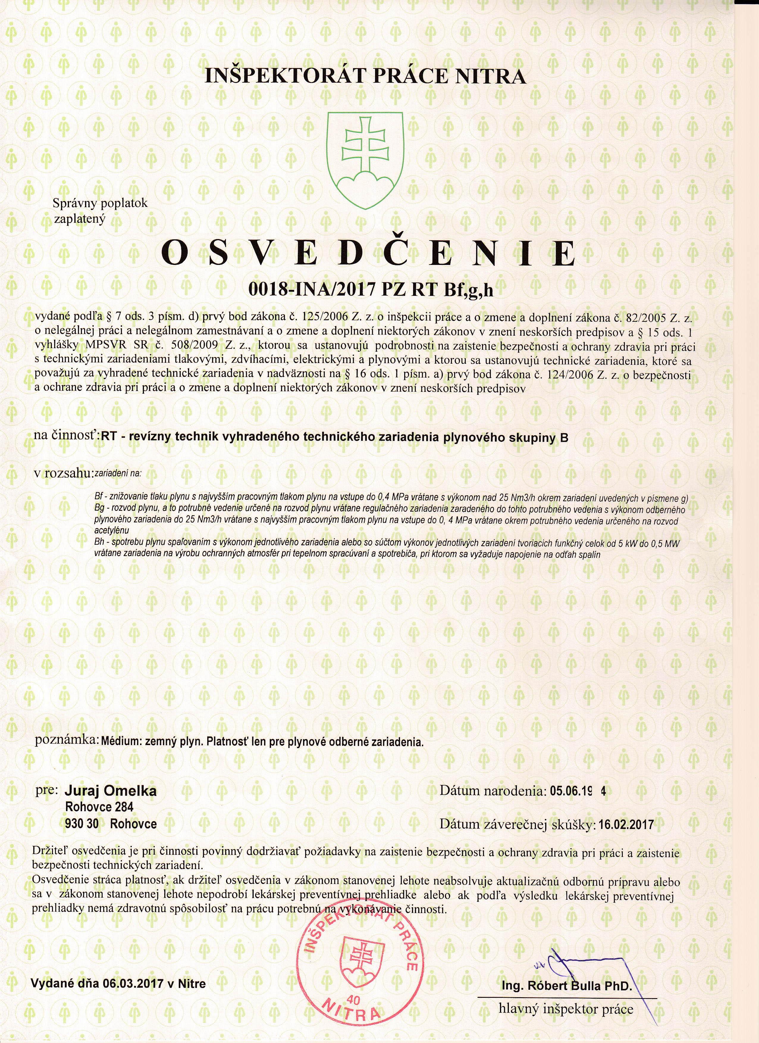 Osvedčenia - Revízny technik - Renel.sk